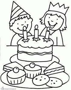 Kleurplaat verjaardag tweeling of jongen of meisje   #kleurplaat #tweeling…