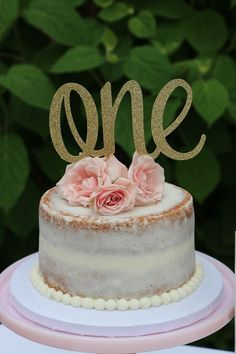 1st Birthday Cake Topper, ONE Cake Topper, Gold Glitter ONE Cake Topper