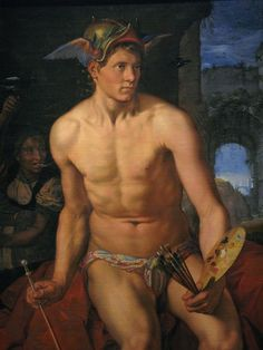 "''Hermes-Mercury'' by Hendrik Goltzius (1558 – 1617), a Dutch printmaker, draftsman, and painter.  Hendrick Goltzius' larger-than-life portrait of Mercury as a painter gives us the opportunity to interpret an image certain that it is a self-representation of the ""divine"" painter. Mercury, an inventor of the arts, sits with his paintbrushes and palette in one hand and a caduceus doubling as a mahlstick in the other. Such double meaning is very common, though still little-known."