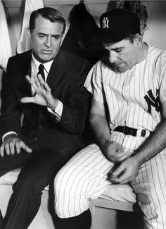 Cary Grant and Yogi Berra (catcher for the New York Yankees) on the set of That Touch of Mink, 1962.