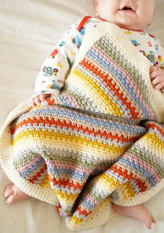 Easy to make baby blanket crochet pattern by Little Doolally on Etsy