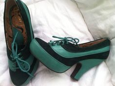 Anthropologie Miss L-Fire adorable green saddle shoes-@Kaia Roberts