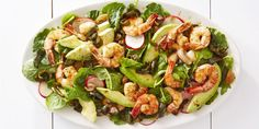 The easiest way to cook shrimp? Roast it! Place them on a baking sheet and pop in the oven for five minutes. Then proceed to add it to your favorite eats, like this fiery avocado salad.Get the recipe for Roasted Shrimp & Poblano Salad Easy Summer Salads, Summer Salad Recipes, Healthy Dinner Recipes, Cooking Recipes, Healthy Meals, Vegetarian Entrees, What's Cooking, Quick Recipes, Keto Recipes