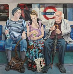 Artist Ewing Paddock has spent three years painting people travelling on the    London Underground. The Tube is the place to observe Londoners in all their    glorious diversity and Ewing wanted to try to capture some of that in the    paintings and also the slightly secret voyeurism that most of us indulge in    when watching, and wondering about, our fellow travellers under ground.    Above, Catherine, Sophie & Sarah, Roy. Is there a real angel in this    carriage? (Captions by Ewing…