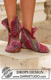 """Ravelry: 111-9 Slippers in moss st in 2 threads """"Fabel,"""" worked in squares pattern by DROPS design"""