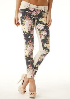 Vanilla Star Floral Color Block Skinny Jean - xl..Different and fun. Found these on a website www.alloy.com. Might just have to buy these