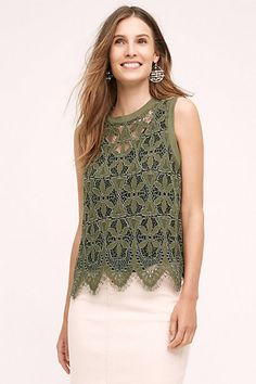 Scalloped Lace Tank #anthropologie