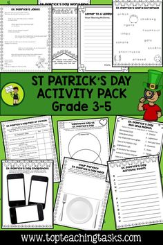 Let us save you time this St. Patrick's Day with our St. Patricks' Day Activity Pack.  This Activity Pack features ten Print and Go St. Patrick's Day Themed Resources:   1. Letter to a Leprechaun 2. Word Scramble 3. Fact or Fiction 4. Word Find 5. Mix and Match 6. Venn Diagram 7. Snap Shot 8. Design a Meal 9. Acrostic Poem 10. Jokes (NZ and US Spellings!)