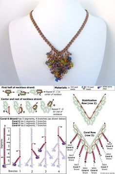 FREE beading pattern for Coraled-V necklace