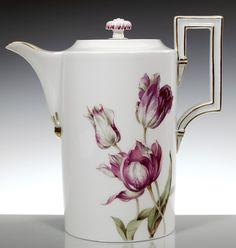 Coffeepot, Flower painting 'tulips', coloured, lim., num., gold rim, H 18,5 cm