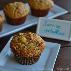 Sunrise Muffins - pineapple, carrot, apple, pecans - delicious breakfast muffins!