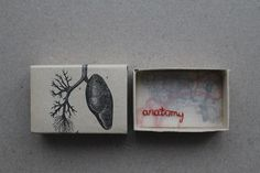 paperiaarre on etsy, matchbox art, embroidery, anatomy, lungs