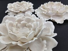 """Individually lighted porcelain flowers. Part of a 42 piece installation for a foyer ceiling. From 6"""" to 12"""" in diameter. Other types of flowers and sizes available."""