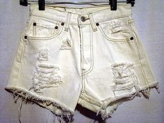 "25""  vintage highwaisted upcycled white Levi's denim jean frayed  Never worn  501 buttonfly distresssed  short shorts"