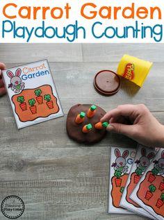 Preschool Easter Games - Carrot Garden Counting #easter #preschool #easteractivities #easterpreschool #planningplaytime #preschoolmath #preschoolcounting