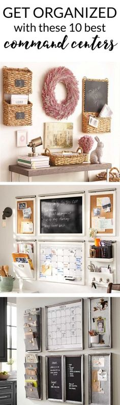 DIY Home Decor Inspiration : Illustration Description GET ORGANIZED in Banish the clutter and get the whole family organized with a family command center or family organization wall. -Read More – Family Organization Wall, Home Organisation, Family Organizer, Office Organization, Clutter Organization, Command Center Kitchen, Family Command Center, Family Message Center, Wand Organizer
