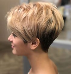 Easy-To-Manage Undercut Pixie # short hair styles pixie fine 100 Mind-Blowing Short Hairstyles for Fine Hair Short Hair With Layers, Short Hair Cuts For Women, Layers And Bangs, Pixie Haircut For Thick Hair, Haircut Short, Undercut Pixie Cut, Chic Haircut, Messy Haircut, Pixie Cut With Bangs