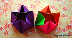 """Origami Star Prisms.  From the book, """"Polyhedron Origami for Beginners"""" by Miyuki Kawamura.  Pages 21-23.  はじめての多面体折り紙 By川村みゆき"""