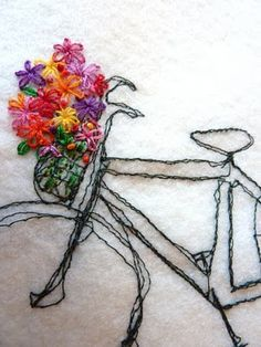 love, machine embroidered bike with hand done flowers, In Bloom embroidery