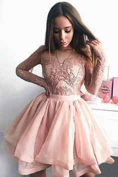 chic crew long sleeves pink homecoming dress with appliques#homecoming#pink