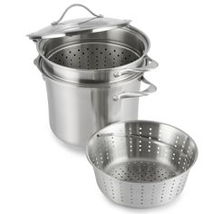 Calphalon Contemporary Stainless 8-Quart Pot with Glass Lid and 2 Inserts * Read more reviews of the product by visiting the link on the image.