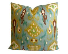 Ikat Pillow Cover in Aqua Teal Chartreuse by StitchedNestings, $45.00