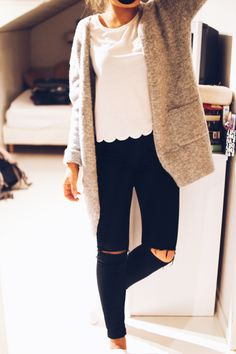 Black denim, white top, cardigan