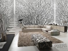 Trees - inspiracja fototapety, galeria wnętrz • PIXERS.pl