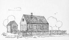 Barna i den gamle delen av Årstad fikk god undervisning av både lærer og lærerinne i skolebygningen på Haukeland. Tegning hentet fra jubileumsboken Haukeland skole i 100 år 1846-1946/Bergen Byarkiv.
