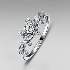 Mickey Inspired Sterling Silver Women's Ring Little Finger Ring #mickeymouse #mickeymouseweddingring #disneywedding