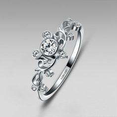 Mickey Inspired Sterling Silver Women's Ring Little Finger Ring #mickeymouse #mickeymouseweddingring #disneywedding