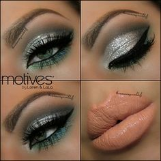 teal, shimmery silver eyes and peachy nude lips