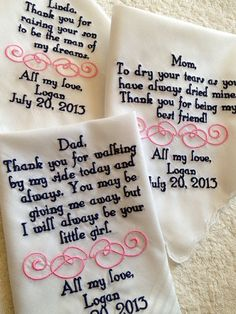 Set of four 4 Mother of the groom/bride and father of the groom/bride custom made personalized handkerchief hankie gift from bride on Etsy, $89.00