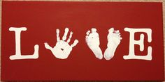 Love Canvas With Children's Hands & Feet.