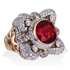 Fit for a #Queen! #Red #Gemstone #Diamonds #Zorabcreation #diamondring #gold #beautiful #lovely #designer #fashion #amazing #jewelry