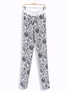 Black & White casual pants with drawstring & follow pattern designed, sports favorite