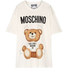 Moschino Oversized printed cotton-jersey T-shirt found on Polyvore featuring tops, t-shirts, white, moschino, oversized tops, colorful t shirts, moschino tee and multicolor t shirt