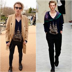 Jamie Campbell Bower in Burberry - London Fashion Week FW14. http://www.whats-he-wearing.com/2014/02/Jamie-Campbell-Bower-Harry-Styles-Tinie-Tempah-Burberry-Fall-Winter-2014.html