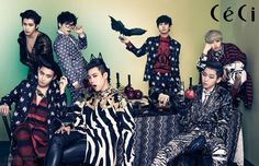 Block B had a 'Devil's Holiday' with 'CeCi'! The concept of the photoshoot was 'the Christmas feat of the 7 Block B villains'. The boys pulled of a 'Nightmare Before Christmas'-esque photoshoot, posing mischievously around a dark table. Block B, Kdrama, B Bomb, Yoo Ah In, K Pop Star, Kpop Fashion, High Fashion, Mens Fashion, Minhyuk