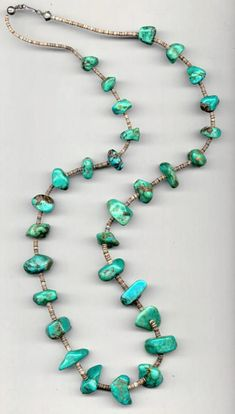 Turquoise Jewelry American Indian Turquoise jewelry,necklace,This Vintage Native American Jewelry Turquoise necklace was purchase thirty years ago. The 30 gorgeous large nuggets of turquoise with tiny shell spacers and silver hook form a 36 inch strand. Collier Turquoise, Turquoise Jewelry, Turquoise Bracelet, Vintage Turquoise, Wire Jewelry, Beaded Jewelry, Handmade Jewelry, Beaded Necklaces, Jewellery Box