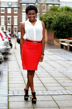 Short sleeve white shirt and a red lace skirt