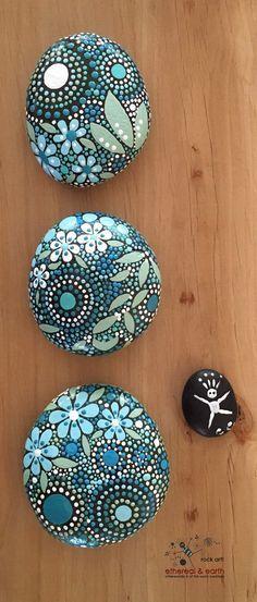 Rock Art! Hand Painted Stones - Natural Home Decor - Mandala Inspired Design - Garden Art - blue luminescence Trio collection #31 - $30 - Free US Shipping! Zen Painting, Dot Art Painting, Mandala Painting, Pebble Painting, Pebble Art, Stone Painting, Painted Pebbles, Painted Stones, Mandala Painted Rocks