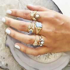 Lauren Wolfknows how to build a meanring stack.Not only does the designer dream up her own collection of stunning jewelry, like rough diamonds set in claw like 18k gold settings, she curates an insane selection of jewelry and objects, from other masterlypeers, in her Oakland and Los Angeles