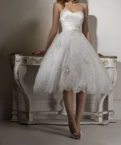 Tea length bridal gown beach wedding dress short summer 2012 Quality Assurance