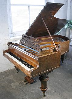 Antique, Bechstein Model V grand Piano for sale with a polished, burr walnut case.