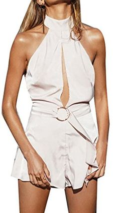 8dc1b157b0ff Papijam Women Sexy Halter Backless Sleeveless Tie Wasit Rompers White S    You can find more