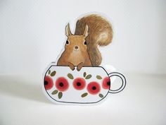 Squirrel in a Teacup Blank Greeting Card by TwoBlackCatsStudio on Etsy https://www.etsy.com/listing/129481790/squirrel-in-a-teacup-blank-greeting-card