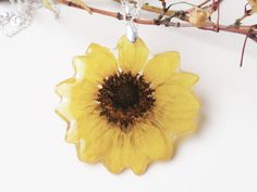 Real Flower Resin Pendant , Handmade Pressed Flowers Jewelry, Botanical Real Plant Jewelry, Sunflower by SmileWithFlower on Etsy #sunflower