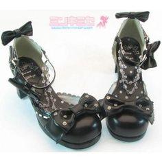 Black Lolita Bow shoes