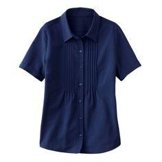 TravelSmith Navy Blue Travel Smith Pintuck Shirt sz MEDIUM Short Sleeve UPF50+  #TravelSmith #ButtonDownShirt #Travel